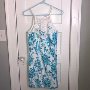 Pearl Shift Lily Dress blue/white